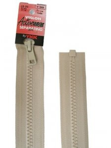 "YKK Separating Zipper - One Way Opening, 18"" - #572 Bone"