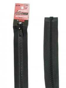 "YKK Separating Zipper - One Way Opening, 20"" - #580 Black"