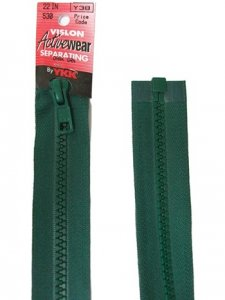 "YKK Separating Zipper - One Way Opening, 18"" - #530 Dark Green"
