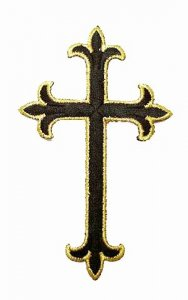 "Iron-on Applique - Fleury Latin Cross #3051 - Black-Gold Metallic, 4.5"" x 2.75"""