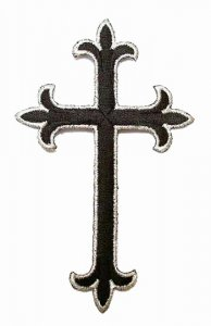 "Wholesale Iron-on Applique - Fleury Latin Cross #3051 - Black-Silver, 4.5"" x 2.75"",  25 pcs"