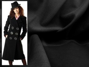 Black Wool Melton Coating Fabric - Style B