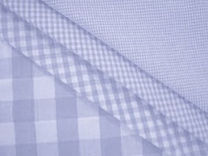 Wholesale Gingham Check Fabric - Soft Blue, 20yds
