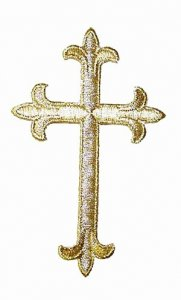 "Iron-on Applique - Fleury Latin Cross #3051 - Gold Metallic, 4.5"" x 2.75"""