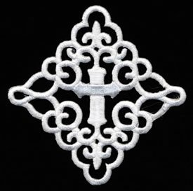 "Wholesale Iron-on Applique - Scrolled Cross #511835 - White, 3"", 25pcs"