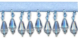 "Trim - Beaded Fringe Lt. Blue 1"" Crystal Drop"