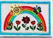 "Applique - Rainbow With Flowers Woven Applique, 2 1/2"" x  1 3/4"""