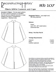 Reconstructing History Pattern #RH107 - Men's 1630's Cassock and Cape
