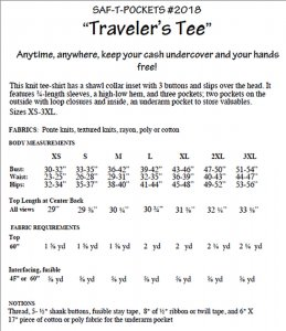 Saf-T-Pockets Travelwear #2018 - Traveler's Tee - envelope back
