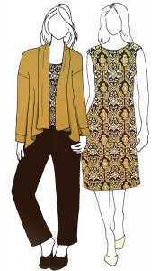 VF175-29 Familiar Scrolls - Mustard with Brown and Cream Jersey Print Fabric