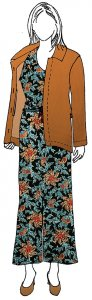 VF195-32 Snowdrop Floral - Cognac-Turquoise-Pumpkin Print on Soft Black Rayon Twill Fabric