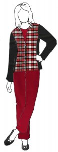 VF196-05 Highlander Hipster - Red-Black-White Plaid Plush Cotton Flannel Fabric from Robert Kaufman