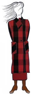 VF201-25 Realm Buffalo - Soft and Plush Wool-Cotton Blend Red-Black Buffalo Check Fabric