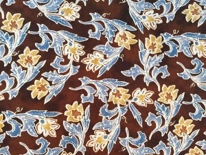 VF175-36 Divination Sprigs - Brown with Tan and Steel Blue Floral Hoffman Cotton Print Fabric