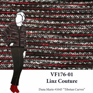 VF176-01 Linz Couture - Red-White-Black Shimmer Yarn-woven Jacket Fabric