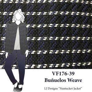 VF176-39 Buñuelos Weave - Navy with Black and White Yarn-Woven Shimmer Wool Suiting Fabric