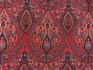 VF186-01 Character Tapestry - Rich Burgundy Brocade Fabric with Gold Shimmer - close up