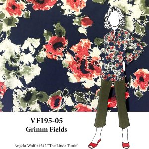 VF195-05 Grimm Fields - Stylized Floral Print on Stretch Cotton Sateen Fabric