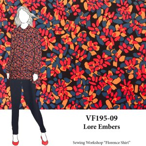 VF195-09 Lore Embers - Small Abstract Print on Stretch Cotton Broadcloth Fabric