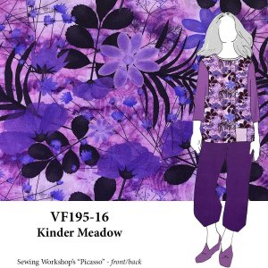 VF195-16 Kinder Meadow Purple Floral Athleticwear Jersey Knit Novelty Print Fabric