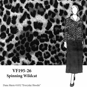 VF195-26 Spinning Wildcat - Grey Animal Print Lightweight Sweatshirt Fleece Fabric