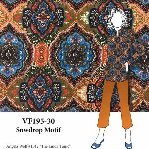 VF195-30 Snowdrop Motif - Autumnal Mandala Inspired Print on Polyester Crepe Georgette Fabric