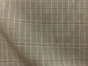 VF195-36 Briar Shimmer - Brown and Tan Glen Plaid Worsted Suiting Fabric with Gold Lurex Accent