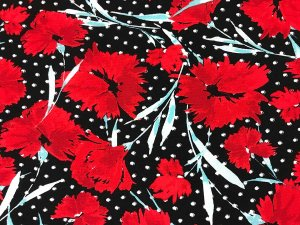VF195-49 Rampion Razzel - Dynamic Red Floral and Polka Dot Print on Bubble Crepe Georgette Fabric