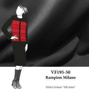 VF195-50 Rampion Milano - Superior Rich Black Ponte di Roma Double Knit Fabric - 300 GSM