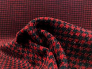 VF196-01 Highlander Houndstooth - Black and Red Wool Blend Coating