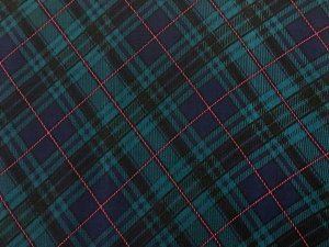 VF196-09 Culloden Argyle - Green-Blue-Red Diamond Plaid Crinkle Crepe Georgette Fabric