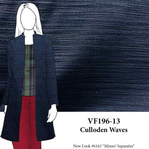 VF196-13 Culloden Waves - Textured Navy Cotton Suiting Fabric from Robert Kaufman