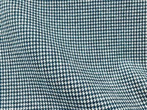 VF196-15 Clan Houndstooth - Teal and Snow White Wool Fabric