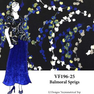 VF196-25 Balmoral Sprigs - Royal-Cream-Grey-floral on Navy Liverpool Crepe Knit Fabric