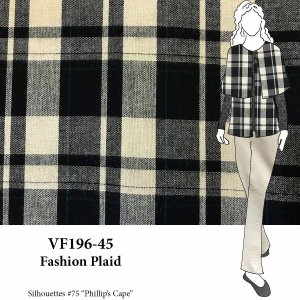 VF196-45 Fashion Plaid - Black and Sand Wool Tweed Fabric