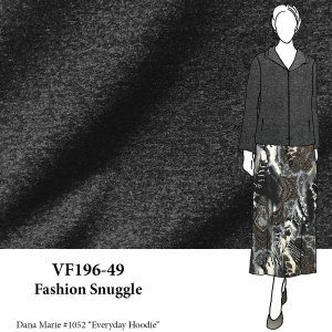 VF196-49 Fashion Snuggle - Dark Grey Heathered Cotton Sweatshirt Fleece Fabric