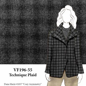 VF196-55 Technique Plaid - Two-Tone Grey Worsted Yarn-woven Wool Blend Fabric