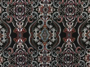 VF201-02 Norse Motif - Rust with Steel and Cream Printed Rayon Challis Fabric