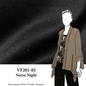 VF201-05 Norse Night - Black Polyester-Wool Blend Crepe Fabric