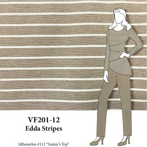 VF201-12 Edda Stripes - Wheat and Camel Ponte di Roma Double Knit Fabric