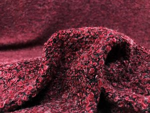 VF201-13 Rune Boucle - Red on Black Poly-Acrylic -Wool Curly Cue Knit Fabric from Telio