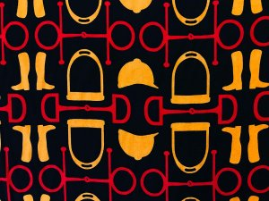 VF201-23 Realm Equestrian - Red-Gold-Black Horse Riding Themed Rayon Challis Print Fabric