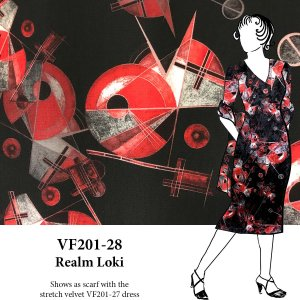 VF201-28 Realm Loki - Exciting Red and Black Printed Polyester Pebble Crepe Fabric by Telio