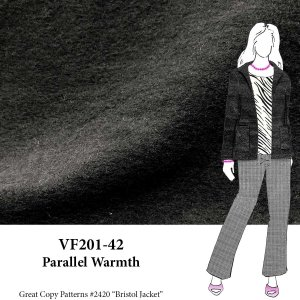 VF201-42 Parallel Warmth - Black Boiled Wool Knit Fabric