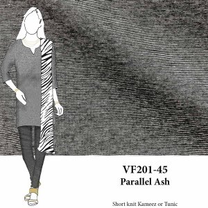 VF201-45 Parallel Ash - Grey Micro-stripe Cotton Jersey Knit Fabric
