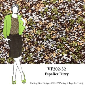 VF202-32 Espalier Ditzy - Green and Brown Floral Stretch Cotton Shirting Fabric