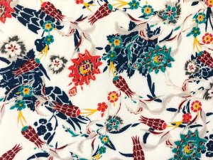 VF203-08 Nassau Aviary - Exotic Fluid Rayon Crepe Print Fabric