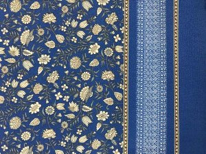 VF203-22 Guadaloupe Maxi - Blue-Tan-White Double Border Pebble Crepe Blouseweight Polyester Fabric