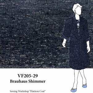 VF205-29 Brauhaus Shimmer - Navy Linen Suiting with Subtle Metallic Silver Shimmer Fabric