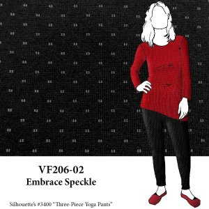 VF206-02 Embrace Speckle - Firm Black Ponte di Roma Double Knit Fabric with Off-White Accents